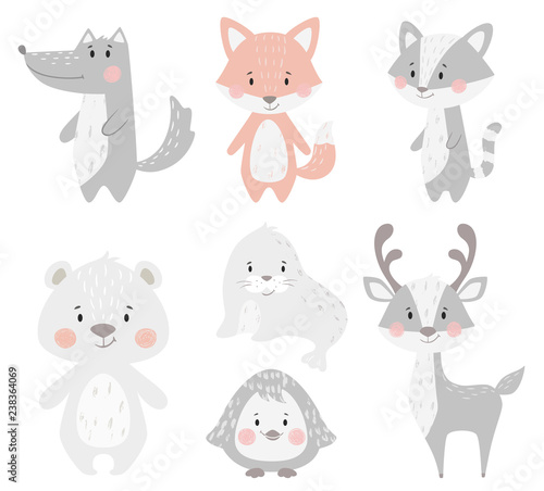 Obraz Reindeer, raccoon, seal, wolf, penguin, bear, fox baby winter set. Cute animal illustration - fototapety do salonu