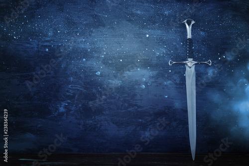 low key banner of silver sword. fantasy medieval period. Wallpaper Mural