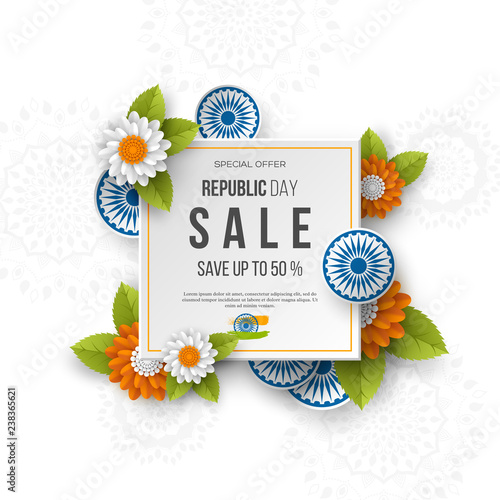 Fotografía  Indian Republic day sale square banner