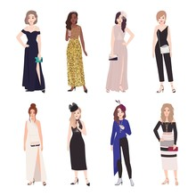 Collection Of Beautiful Young Women In Evening Outfits. Set Of Girls Wearing Elegant Formal Dresses And Jumpsuit. Bundle Of Female Cartoon Characters Isolated On White Background. Vector Illustration.
