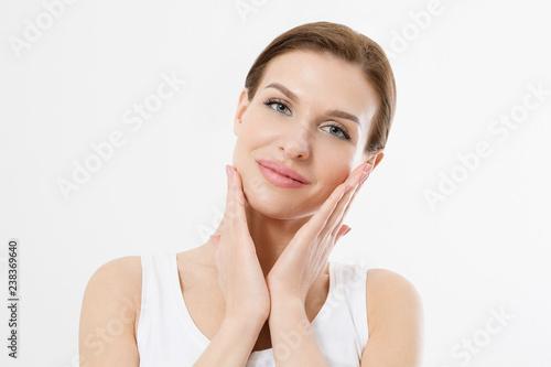 Young Beautiful Woman Touching Clean Fresh Face Skin Anti Aging