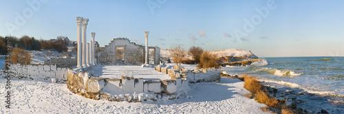 Aluminium Prints Ruins Ruins of Chersonesos in winter