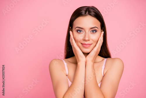 Fototapety, obrazy: Close up portrait of beautiful cute gentle trying scrub effect touching skin with arms her she young girl wearing pale pink bra isolated on rose background