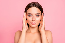 Close Up Portrait Of Happy Brown Haired Cute Gorgeous Perfect Facial Skin Her She Feminine Girl With Hands By Sides Of Head Almost Touching Wearing Pale Pink Bra Isolated On Rose Background