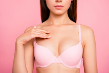 Cropped Close Up Photo Of Pretty Cute With Perfect Soft Skin She Her Woman With Hand Ribbing Cream In Cleavage Zone Wearing Pale Pink Bra Isolated On Rose Background
