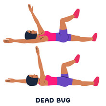 Dead Bug. Sport Exersice. Silhouettes Of Woman Doing Exercise. Workout, Training.