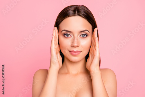 Fototapety, obrazy: Close up portrait of happy brown haired cute gorgeous perfect facial skin her she feminine girl with hands by sides of head almost touching wearing pale pink bra isolated on rose background