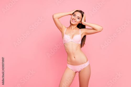 Fotografie, Obraz  Portrait of her she nice attractive adorable thin sporty sportive cheery lady in