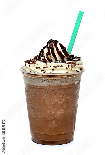 Fototapeta Frappuccino coffee with whipped cream in tak eaway cup isolated on white backgro