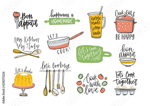 Plakaty do jadalni set-of-phrases-handwritten-with-cursive-font-and-decorated-with-kitchen-supplies-and-food-products-bundle-of-letterings-and-tools-for-cooking-or-homemade-meals-preparation-vector-illustration
