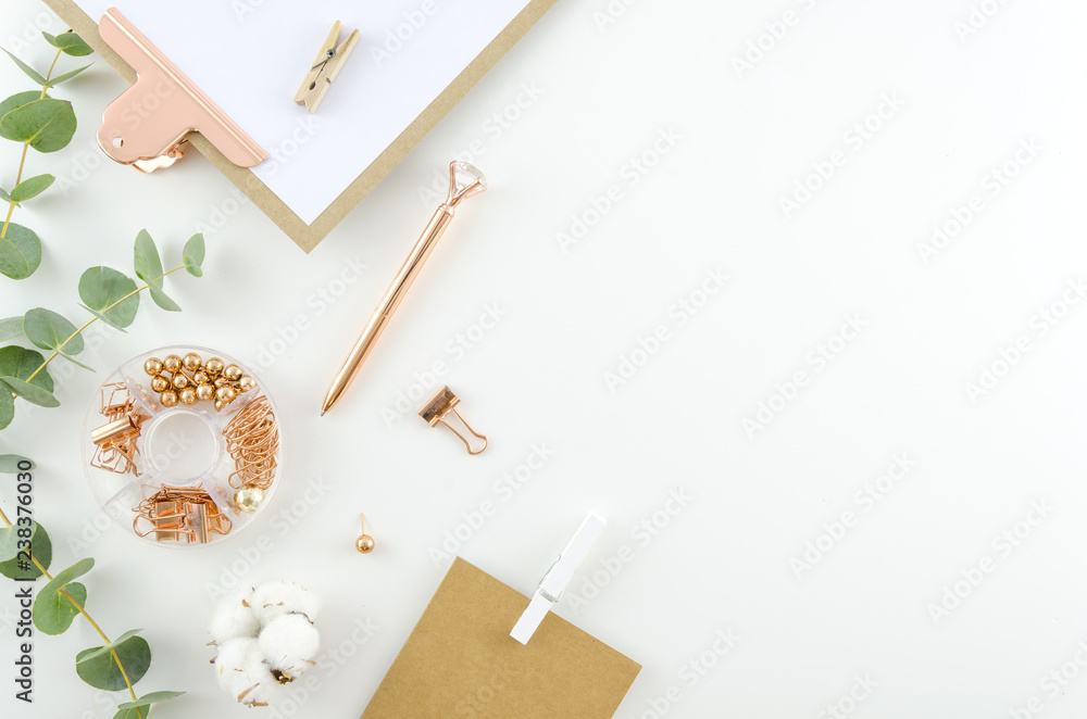 Fototapety, obrazy: Flat lay, Top view office supplies table desk. Feminine desk workspace frame with green leaves eucalyptus, clipboard and cotton on white background. ideas, notes or plan writing concept. Hero header