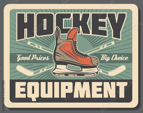 Ice hockey stick, puck and skate. Sport equipments Canvas Print