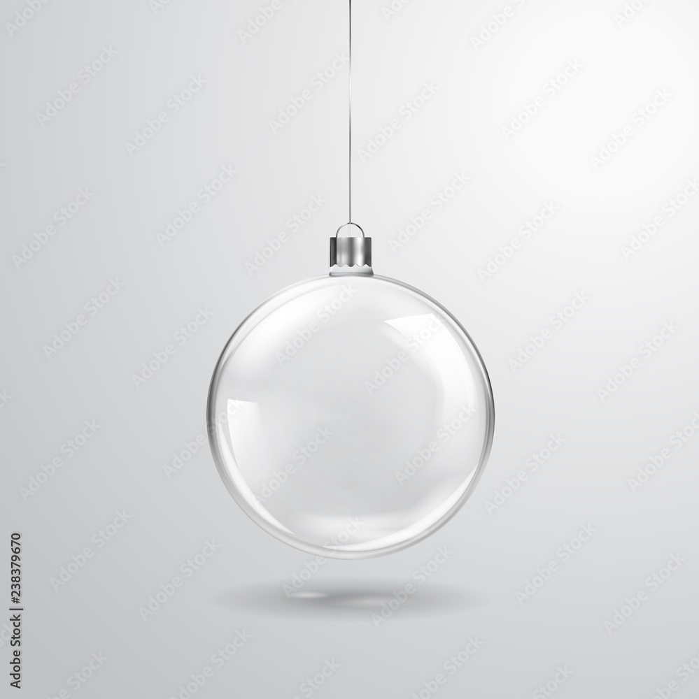 Fototapeta Glass transparent Christmas ball hanging on the ribbon. Realistic Xmas glass bauble on transparent background. Holiday decoration template. Vector illustration