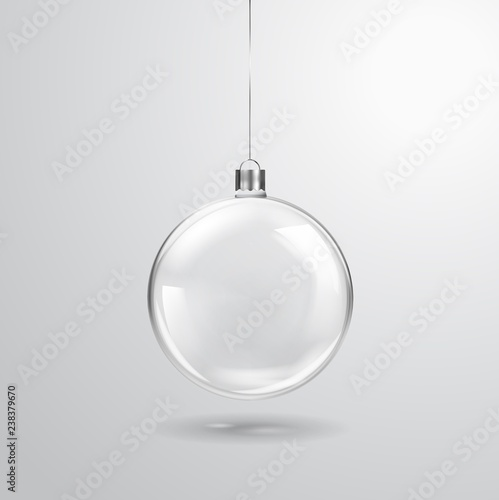 Fototapeta Glass transparent Christmas ball hanging on the ribbon. Realistic Xmas glass bauble on transparent background. Holiday decoration template. Vector illustration obraz