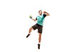 Leinwanddruck Bild - The fit caucasian young male handball player at studio on white background. Fit athlete isolated on white. The man in action, motion, movement. attack and defense concept