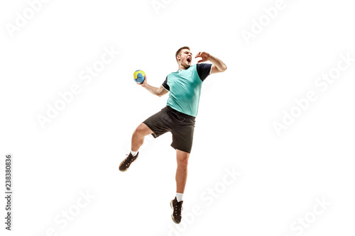 Fotografie, Obraz  The fit caucasian young male handball player at studio on white background