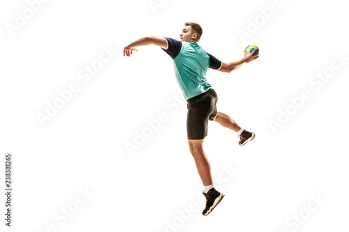 The fit caucasian young male handball player at studio on white background Wallpaper Mural