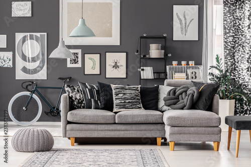 Groovy Knot Pillow On Scandinavian Grey Couch In Monochromatic Beatyapartments Chair Design Images Beatyapartmentscom