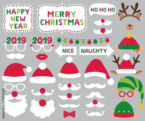 Christmas Party 2019 Clipart.Santa And Elf Hats Deer Antlers Christmas Party Set Buy