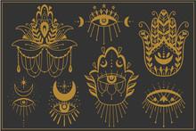 Evil Seeing Eye Symbol Set. Oc...