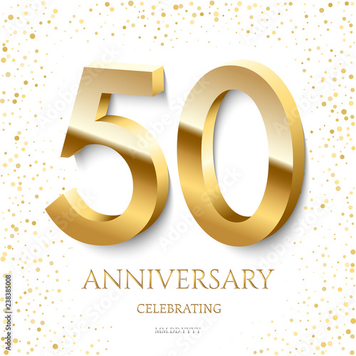 Fotografía Golden 50th Anniversary Celebrating text and confetti on white background