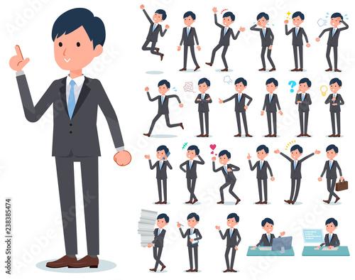flat type Gray suit businessman_emotion Fototapet