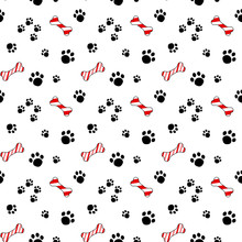 Vector Seamless Pattern With Candy Cane Bone Treat And Dog Paw Prints.