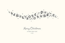 Christmas Wishes With Festive Decorations. Vector.
