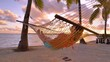 SLOW MOTION, LENS FLARE, CLOSE UP: Carefree girl napping in a swaying hammock on golden summer evening on the tranquil sandy beach in Cook Islands. Female tourist relaxing on the beach at sunrise.