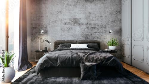 Photo  3d render of beautiful bedroom interior