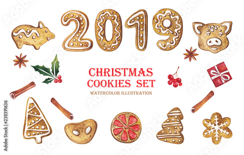 Coolmathgames Com Christmas Ornaments: A Large Watercolor Set Of Christmas Gingerbread With A