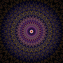 Beautiful, Symmetrical, Round, Fractal Pattern In Blue, Purple And Yellow On Black Background