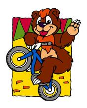 Bear Rides Bicycle In Circus