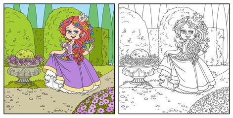 Beautiful princess with flowers in hair and the hem of the dress in palace park with topiary and flowers color and outlined for coloring