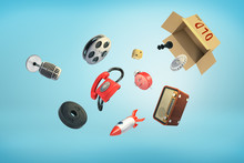 3d Rendering Of A Cardboard Box With The Title 'Old' On It And Various Vintage And Modern Objects Scattering Out.