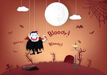 Halloween, Bloody Message Cute Vampire With Graveyard Cartoon Puppet Characters, Invitation Poster Card Abstract Background Vector Illustration