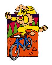 Dog Poodle Acrobat Rides Bicycle In Circus