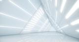 Fototapeta Do przedpokoju - Abstract Triangle Spaceship corridor. Futuristic tunnel with light. Future interior background, business, sci-fi science concept. 3d rendering