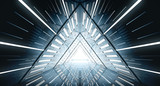 Fototapeta Perspektywa 3d - Abstract Triangle Spaceship corridor. Futuristic tunnel with light. Future interior background, business, sci-fi science concept. 3d rendering