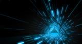 Fototapeta Do przedpokoju - Abstract Triangle light corridor. Futuristic tunnel. Future interior background, business, sci-fi science concept. 3d rendering