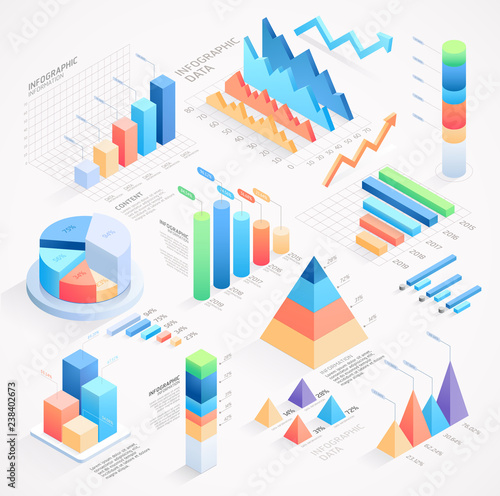 fototapeta na szkło Infographics isometric elements vector illustrations.