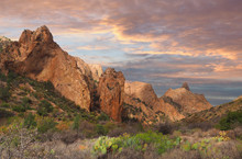 Big Bend National Park Chisos Basin At Sunet