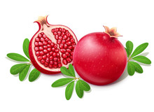 Ripe Juicy Pomegranate. Cuted Fruit With Green Leaves.
