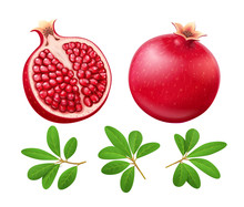 Set Of Ripe Juicy Pomegranate. Cuted Fruit With Green Leaves.