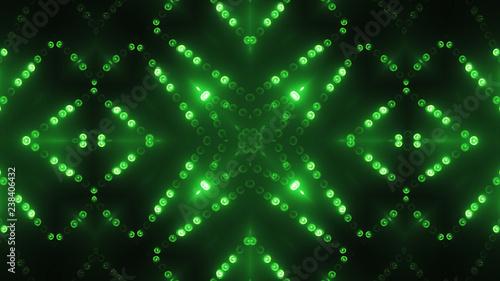 3d render green circle led VJ background Canvas Print