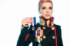 Girl In Fashionable Military Uniform Awarded The Order Of The Heart