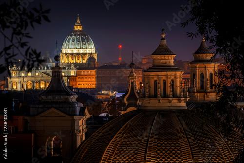 Vatican City, Saint Peter's Basilica from Rome Canvas Print