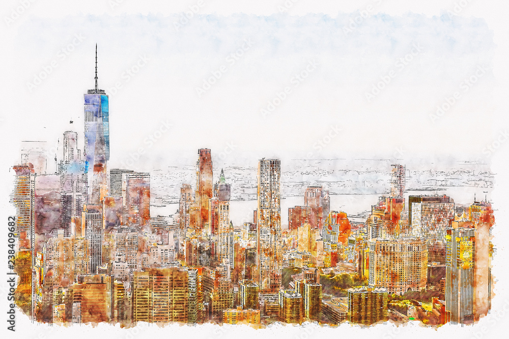 Aerial view of lower Manhattan New York City watercolor painting
