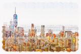 Fototapeta Nowy York - Aerial view of lower Manhattan New York City watercolor painting