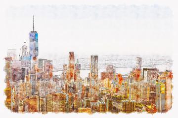 Fototapeta Nowy York Aerial view of lower Manhattan New York City watercolor painting